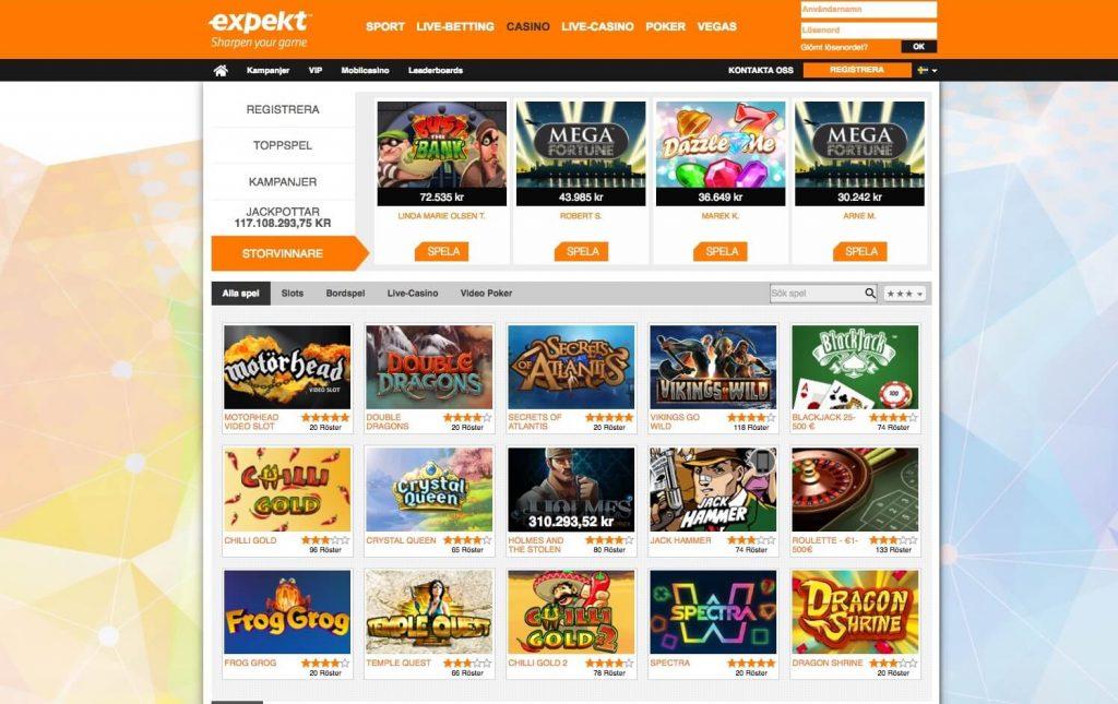 Bild av Expekt casinosida