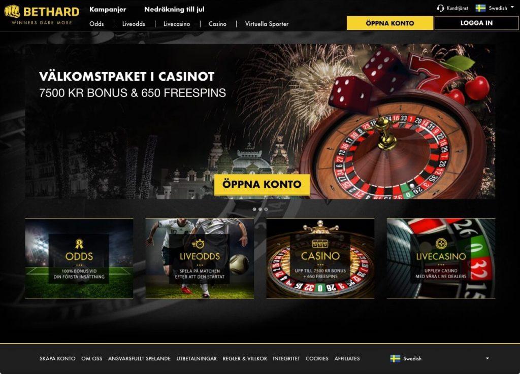 Bild av startsidan hos Bethard Casino