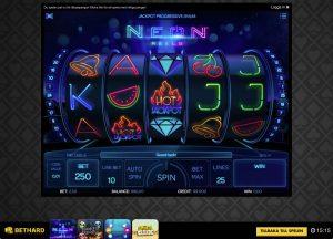 Bild av slot spelet Neon Reels hos Bethard