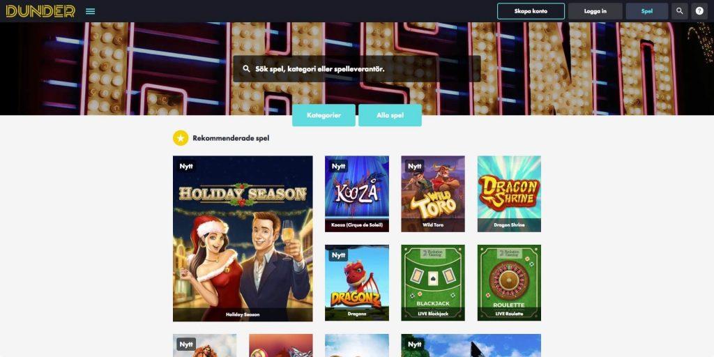 Bild av Dunder Casino spelsida